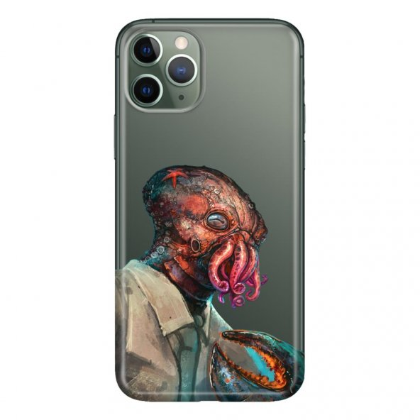 iPhone 11 Pro Max 6.5 inch Kılıf Desenli Esnek Silikon Telefon Kabı Kapak - Ahtapot