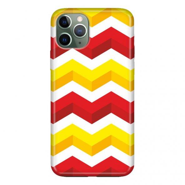 iPhone 11 Pro Max 6.5 inch Kılıf Desenli Esnek Silikon Telefon Kabı Kapak - 3D Sarı Kırmızı