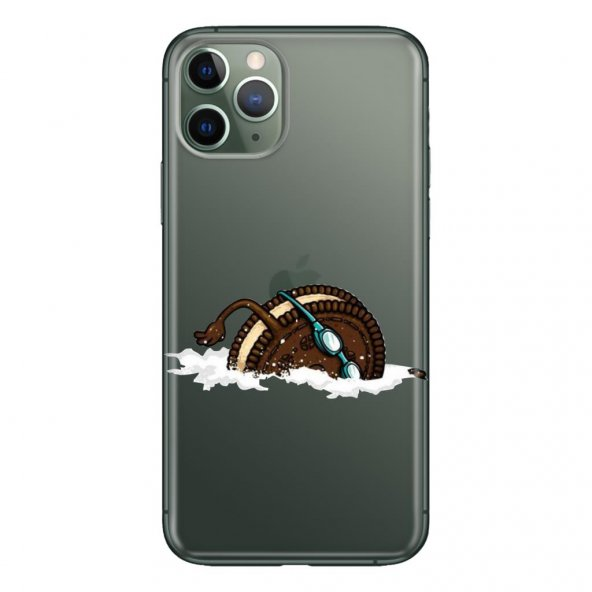 iPhone 11 Pro Max 6.5 inch Kılıf Desenli Esnek Silikon Telefon Kabı Kapak - Cacao Bisquit