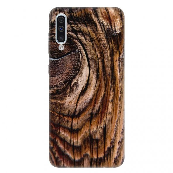 Samsung Galaxy A50 Kılıf Desenli Esnek Silikon Telefon Kabı Kapak - Ağaç Wood