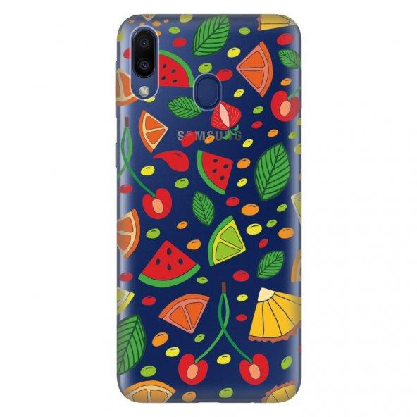 Samsung Galaxy M30 Kılıf Desenli Esnek Silikon Telefon Kabı Kapak - Meyveler