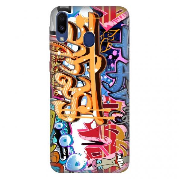 Samsung Galaxy M30 Kılıf Desenli Esnek Silikon Telefon Kabı Kapak - Grafitti 999