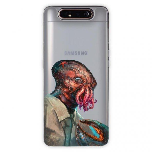 Samsung Galaxy A80 Kılıf Desenli Esnek Silikon Telefon Kabı Kapak - Ahtapot
