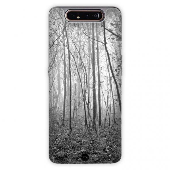 Samsung Galaxy A80 Kılıf Desenli Esnek Silikon Telefon Kabı Kapak - Korku Ormanı