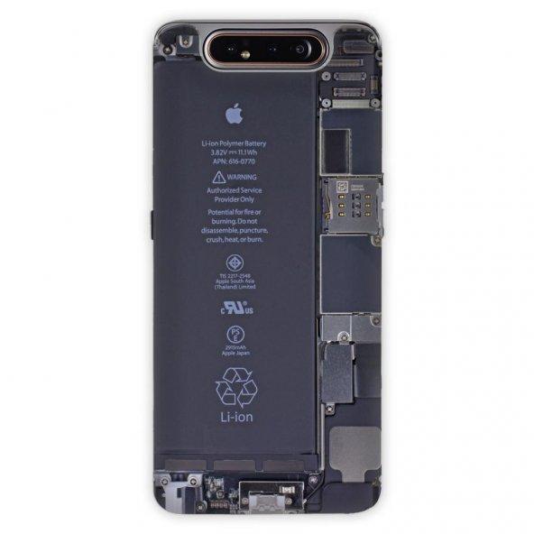 Samsung Galaxy A80 Kılıf Desenli Esnek Silikon Telefon Kabı Kapak - iPhone Mekanik