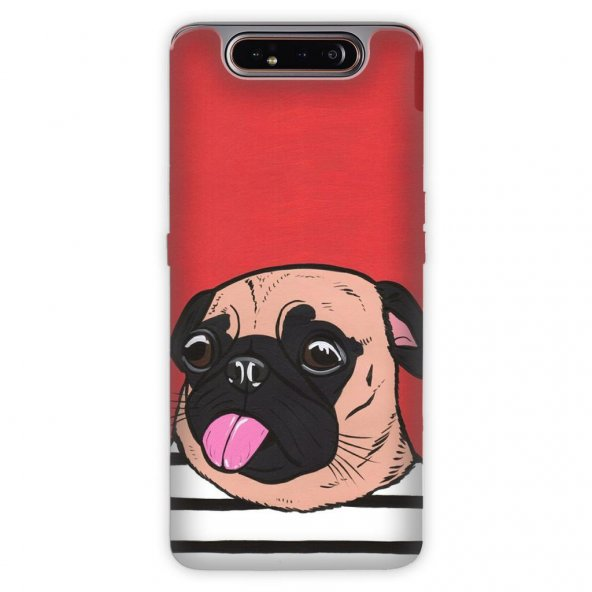 Samsung Galaxy A80 Kılıf Desenli Esnek Silikon Telefon Kabı Kapak - Uyuşuk Pug