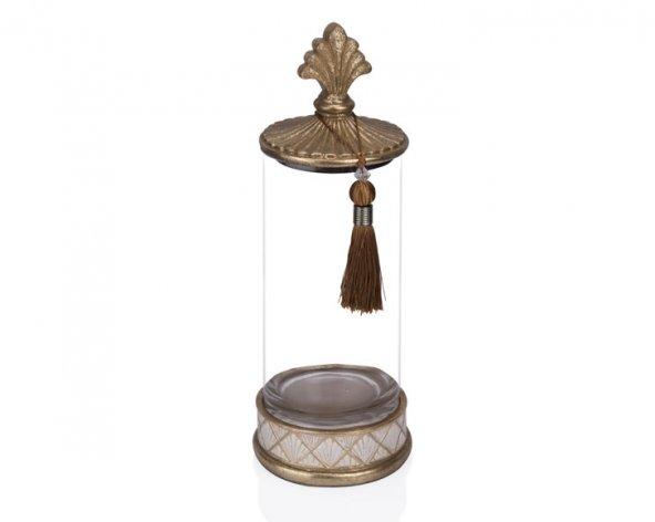 Porio PR12-1028 - Altın Krem Cam Dekoratif Kavanoz 15*15*42