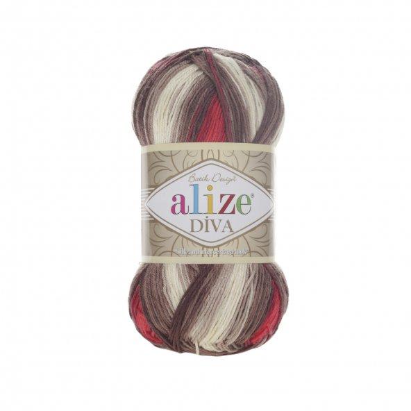 5 Adet Alize Diva Batik El Örgü ipi ipliği Renk Kodu 4574
