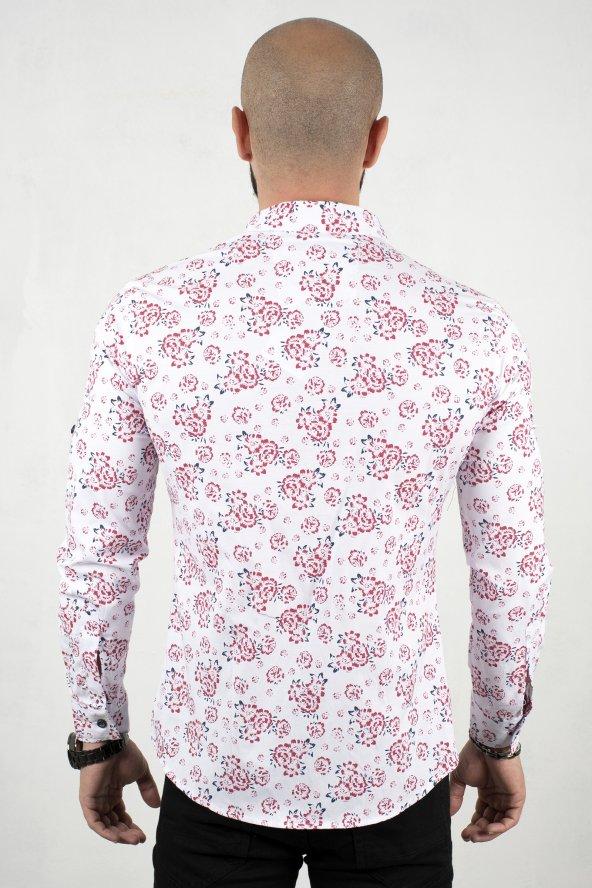 DeepSEA Krem Kendinden Çiçek Desenli Kol Katlamalı Dar Kesim Gömlek 2001801
