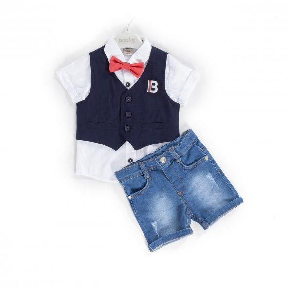 Bebüş erkek bebek 06-18 aylık gömlekli takım