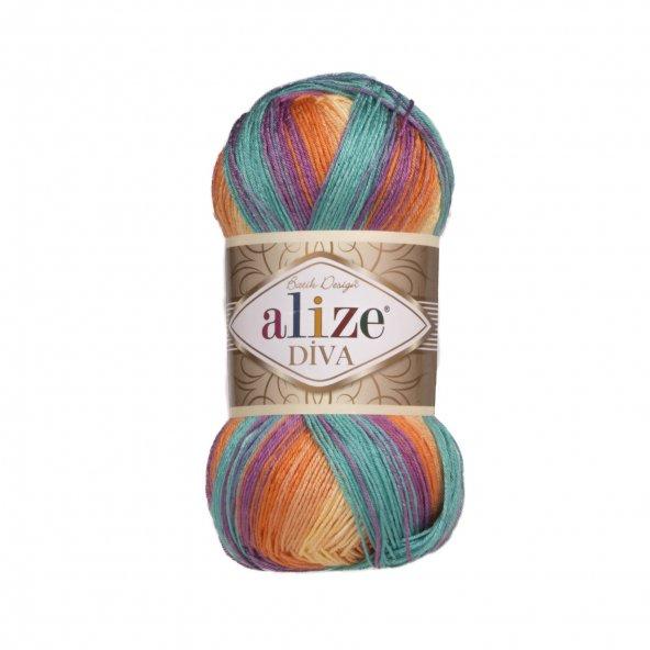 5 Adet Diva Batik El Örgü Ipi Ipliği Renk Kodu 7074