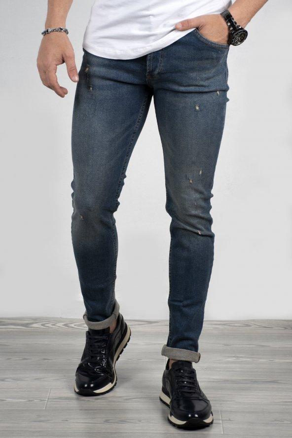DeepSEA Mavi Enzin Yıkamalı Lazer Kesim Kot Pantolon 2001964
