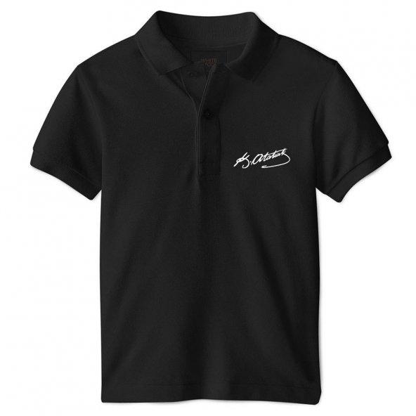 Atatürk İmzalı Polo Yaka Kısa Kol Tişört