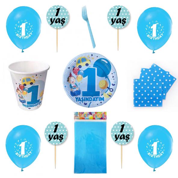 1 Yaş Mavi Parti Malzemeleri Seti 32 Kişilik