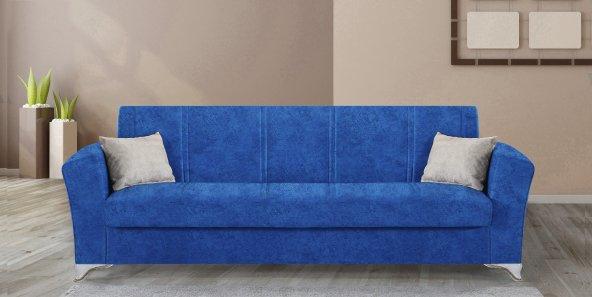 Mega Modern Kanepe - Mavi (Sandıklı ve Yataklı)