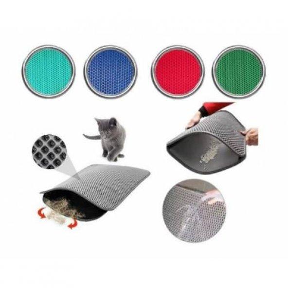 Elekli Kedi Tuvalet Önü Paspası 50 x 60 Cm Kırmızı
