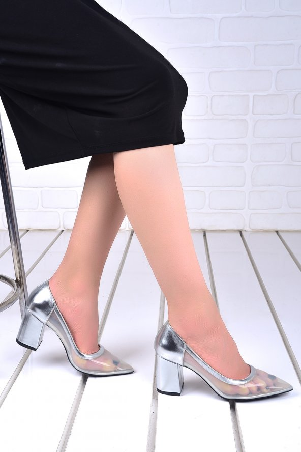 Ayakland 1019 Cilt Şeffaf 7 Cm Topuk Bayan Topuklu Ayakkabı Gümüş