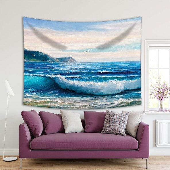 Yaglı Boya Etkili Deniz Dalga Desenli Duvar Örtüsü
