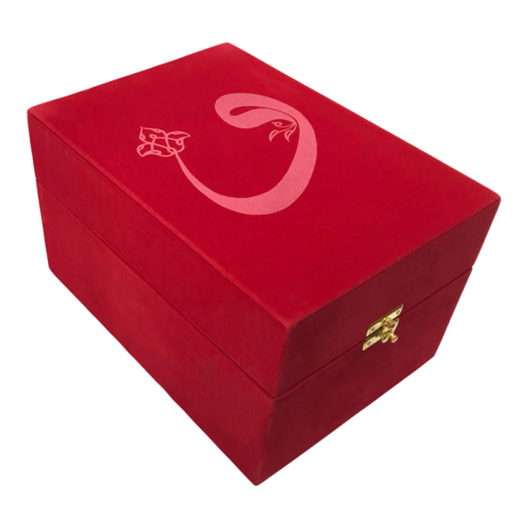 Kurân-Bayrak-Fincan Seti (Vav Desenli, Kırmızı, Kadife Kutulu)
