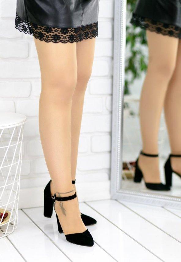 Olena Siyah Süet Topuklu Ayakkabı
