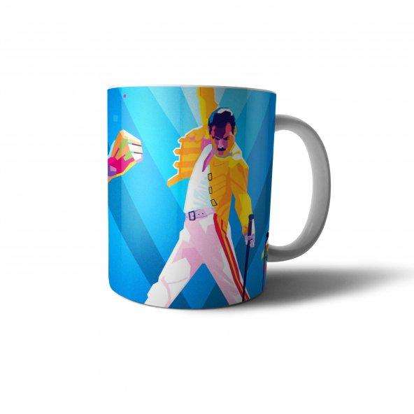 Freddie Mercury İllüstrasyon Baskılı Kupa Bardak - MZ004