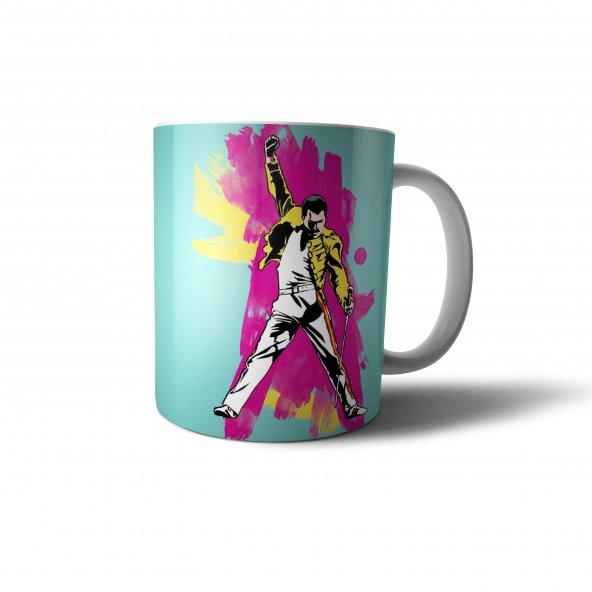 Freddie Mercury İllüstrasyon Baskılı Kupa Bardak - MZ009