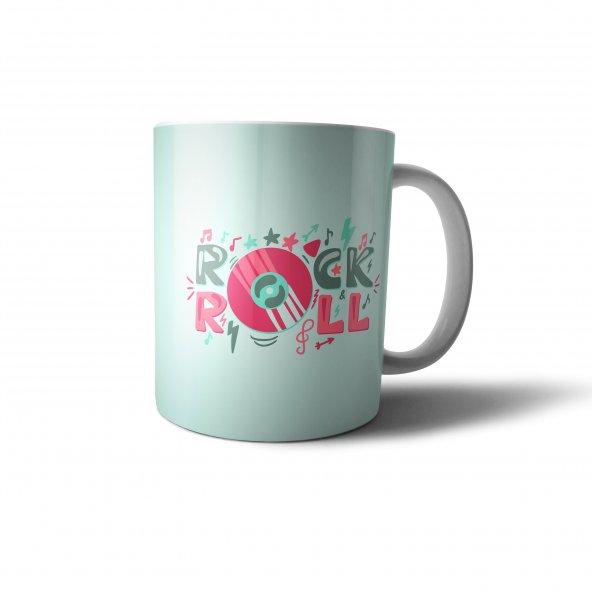 Rockn Roll Toz Mavi Retro Tasarım Baskılı Kupa Bardak - RET007