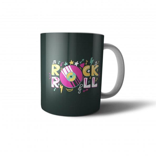 Rockn Roll Siyah Retro Tasarım Baskılı Kupa Bardak - RET009