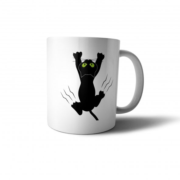 Tırmanan Kedi İllüstrasyon Baskılı Kupa Bardak - ANI037