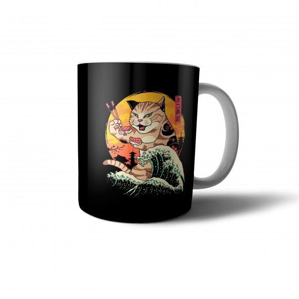 Sushi Yiyen Çinli Kedi İllüstrasyon Baskılı Kupa Bardak - ANI038