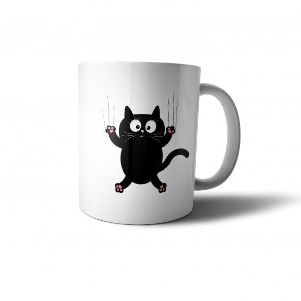 Tırmanan Şaşkın Kedi İllüstrasyon Baskılı Kupa Bardak - ANI043