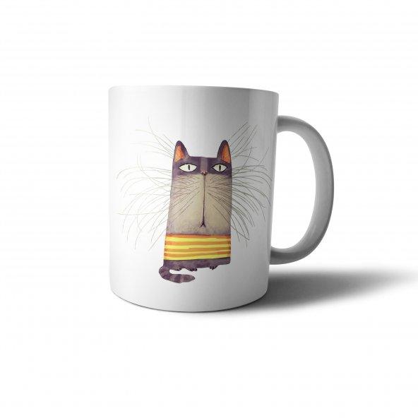 Bıyıklı Kedi Sanatsal İllüstrasyon Baskılı Kupa Bardak - ANI064