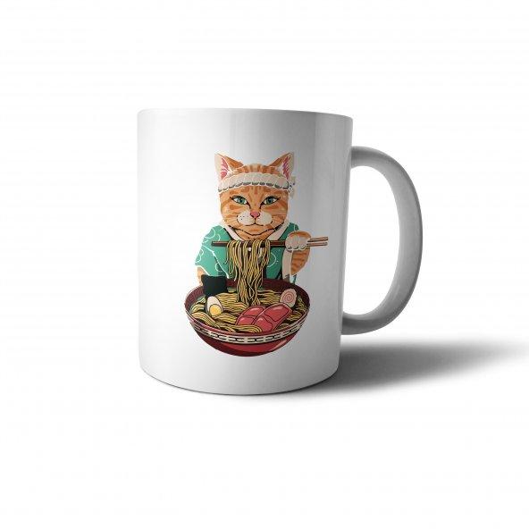 Makarna Yiyen Çinli Kedi İllüstrasyon Baskılı Kupa Bardak - ANI066