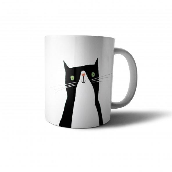 Sevimli Siyah Kedi İllüstrasyon Baskılı Kupa Bardak - ANI070