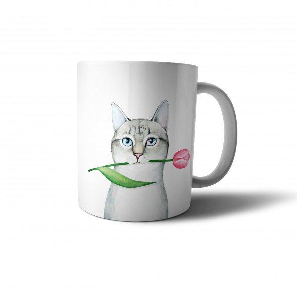 Sevimli Kedi ve Gül Baskılı Kupa Bardak - OKG005