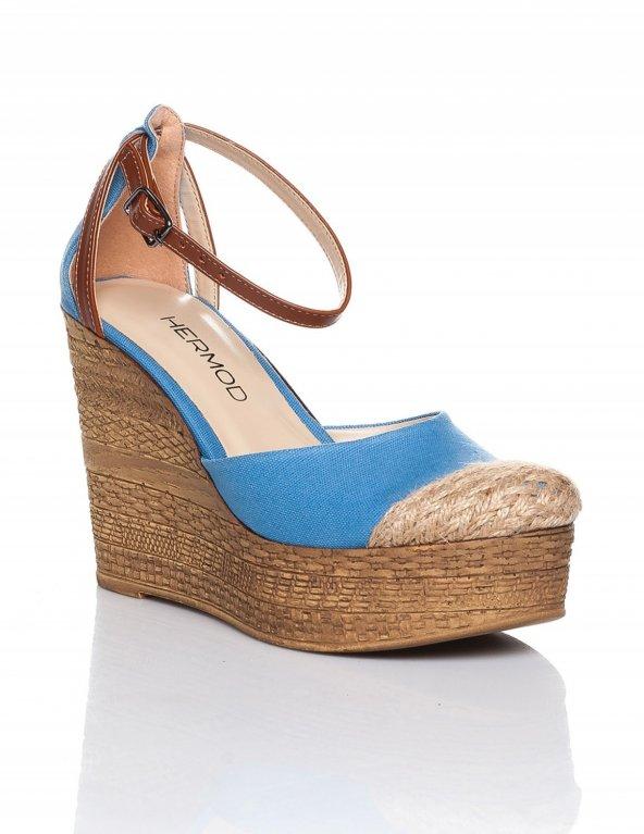 Jolena Bebe Mavisi Hasır Detaylı Sandalet