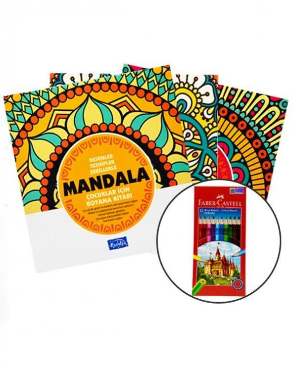 Çocuklar İçin Mandala Boyama 12 Renk Faber Castell Kuru Boya