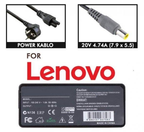 Ibm ThinkPad Z61m  Adaptör 20V 4.5A 7.9 x 5.5 mm