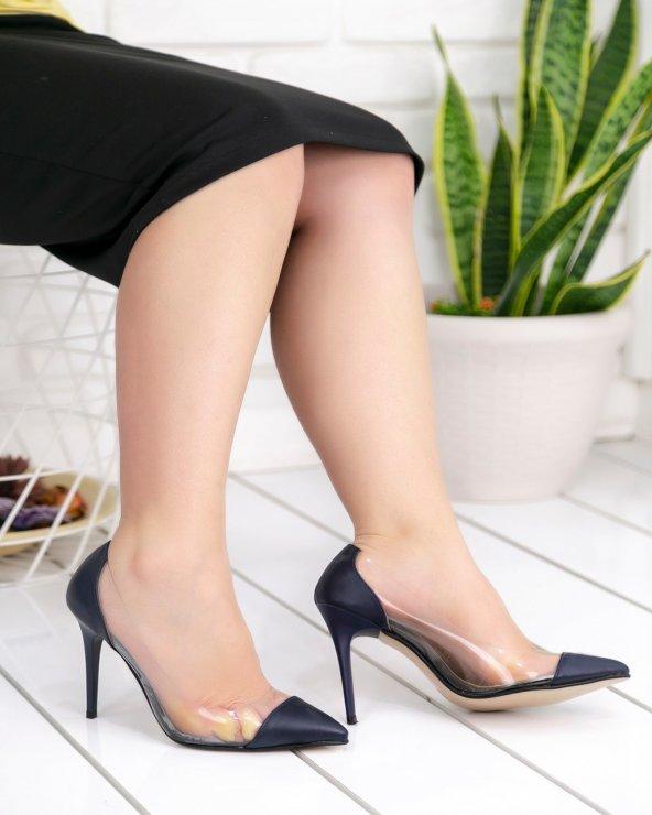 Miya Siyah Cilt Şeffaf Stiletto Ayakkabı