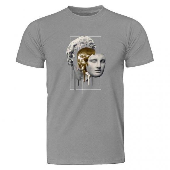Statue Gold Face Melt Gri Tişört