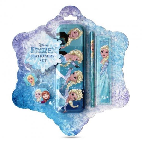 Frozen Lisanslı Kırtasiye Seti - Metal Kalemlik Kalem Silgi