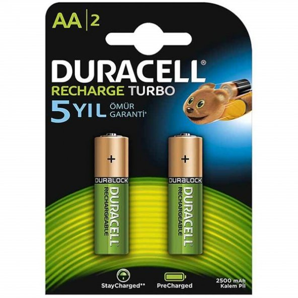 Duracell AA Şarjlı 2500 mA Pil 2li 661107