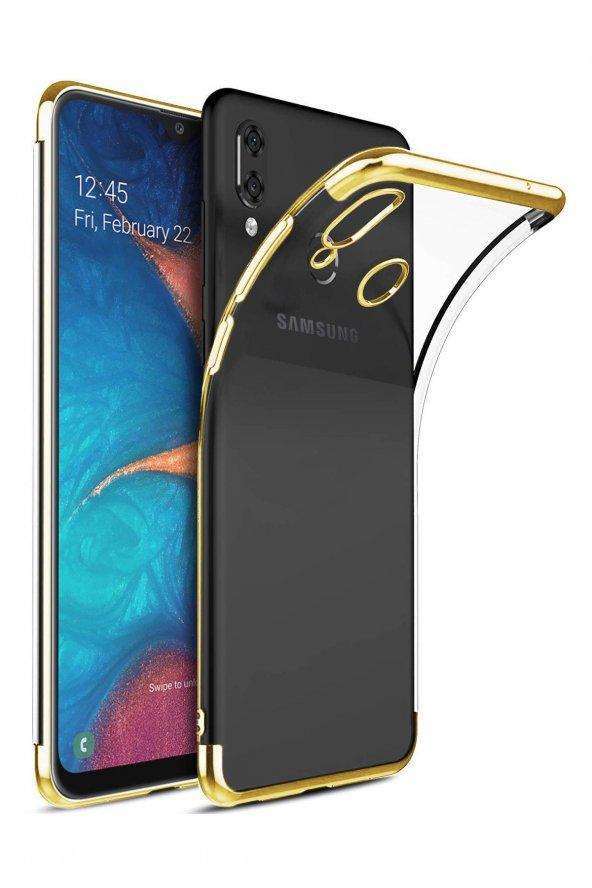 Samsung Galaxy A20 Kılıf Lazer Kaplama Silikon Gold