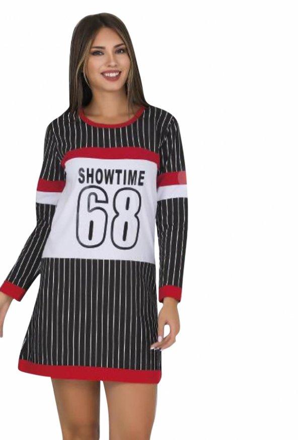 Bayan Siyah şeritli Diz üstü Alt üst elbise 5048