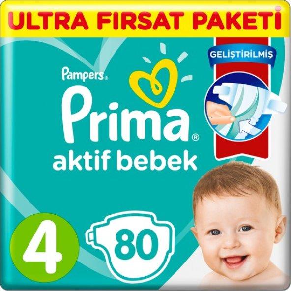 Prima Aktif Bebek 4 Numara 80'li Ultra Fırsat Paketi Bebek Bezi