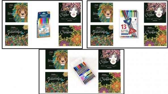 4 Lü Coloring Relax Lüks Mandala Seti (3 Seçenekli)