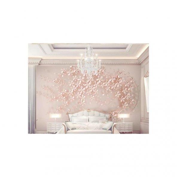 Renkli Duvarlar Zarif Pembe Çiçekler 3D Etkili ( Boyutlu ) Duvar Kağıdı