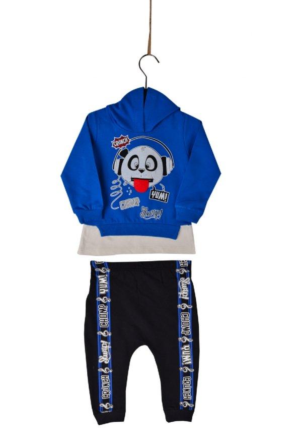 Teqne Bebek Panda Kapüşonlu Penye Alt Üst Takım