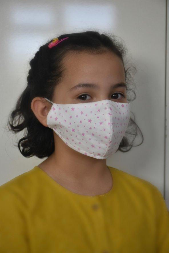 Pembe Yıldızlı Kız Çocuk Maskesi