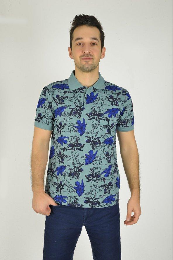 Erkek Mavi Desenli Baskılı Polo Yaka T-shirt